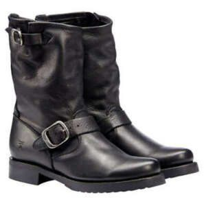Frye Black Leather Short Buckle Boots